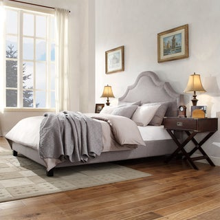 INSPIRE Q Fletcher Grey Linen Nailhead Arch Curved Upholstered King-sized Bed