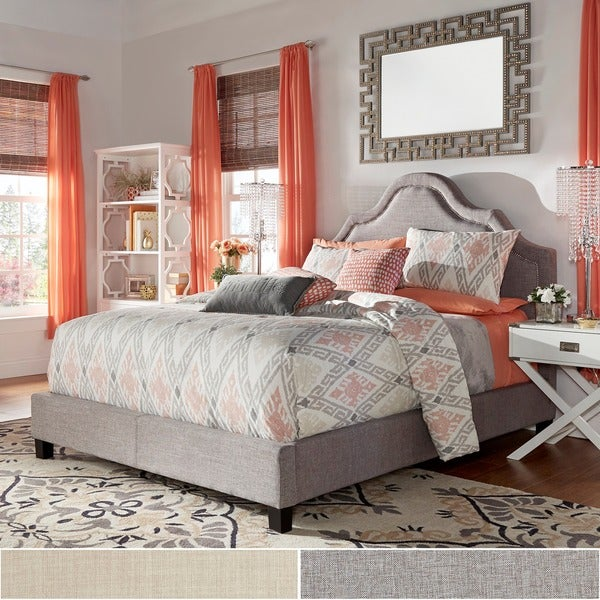 INSPIRE Q Fletcher Grey Linen Nailhead Arch Curved Upholstered Bed