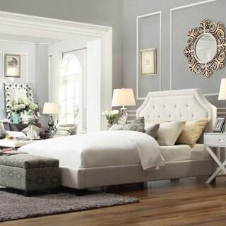 INSPIRE Q Grace Cream White Linen Arched Bridge Top King-sized Platform Bed