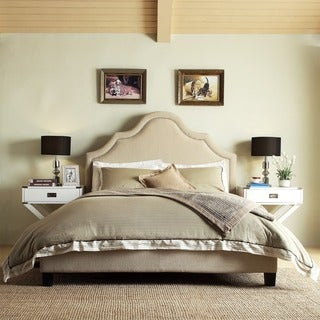 INSPIRE Q Fletcher Beige Linen Nailhead Arch Curved Upholstered Bed