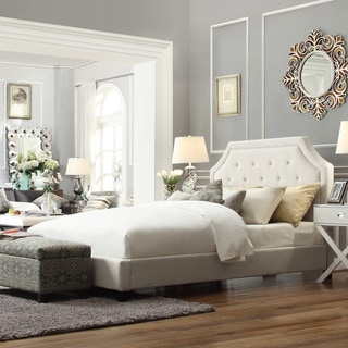 INSPIRE Q Grace White Linen Arched Bridge Top Platform Bed