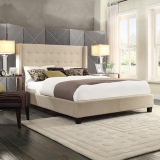 INSPIRE Q Marion Beige Linen Nailhead Wingback Tufted Platform Bed