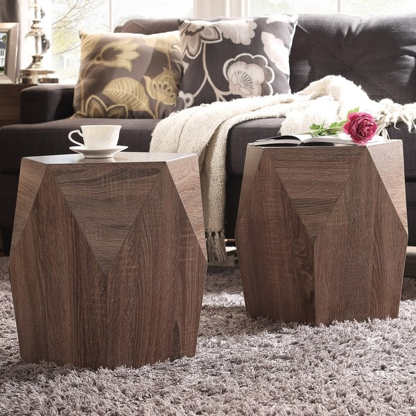 Inspire Q Hatteras Irregular Modern Woodblock Stool Set