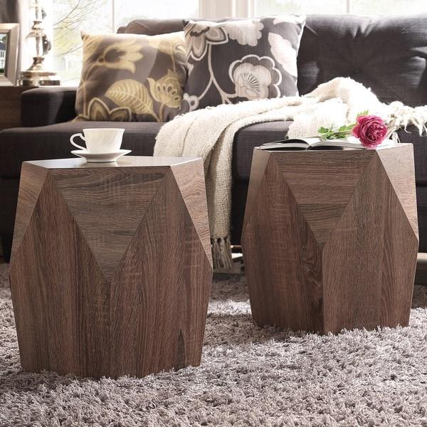 INSPIRE Q Hatteras Irregular Modern Woodblock Stool (Set of 2)