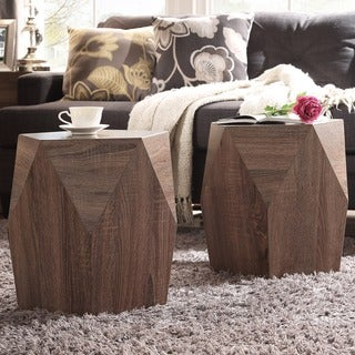 Hatteras Irregular Modern Woodblock Stool ( Set of 2)
