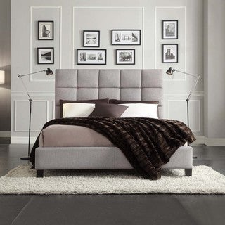 INSPIRE Q Fenton Grey Linen Panel Upholstered Platform Bed