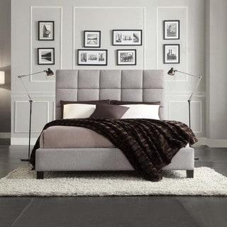 INSPIRE Q Fenton Grey Linen Panel Upholstered Platform Bed