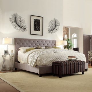 INSPIRE Q Kingsbury Grey Linen Tufted King-sized Upholstered Bed
