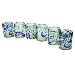 Hand Blown Emerald Green/Cobalt Blue Glass Elegant Energy Juice Glasses (Set of 6) (Mexico)