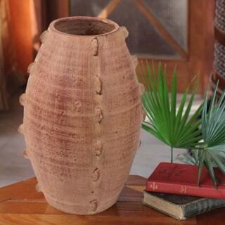 Handcrafted Ceramic 'Medium Drum Beat' Vase (Ghana)