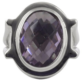 Sterling Silver 'Contempo' Amethyst Cocktail Ring (Mexico)