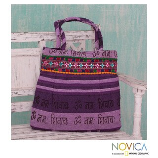 Handcrafted Cotton 'Peaceful Amethyst' Shoulder Bag (India)