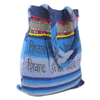 Handcrafted Cotton 'Peaceful Blue' Shoulder Bag (India)