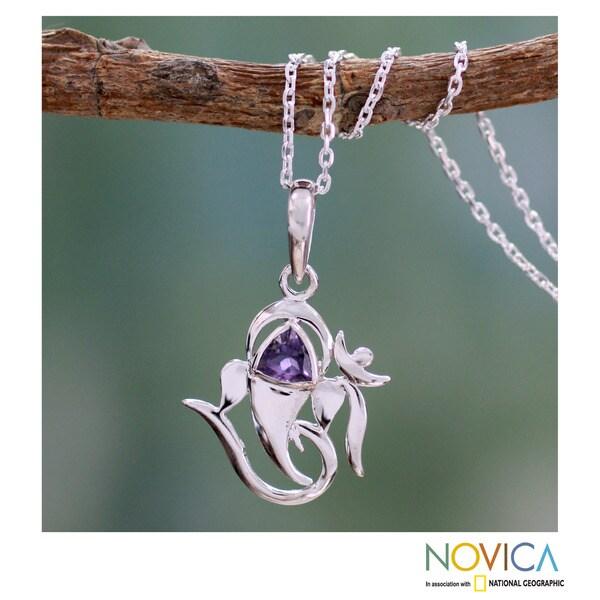 Sterling Silver 'Mystical Ganesha' Amethyst Pendant Necklace (India)