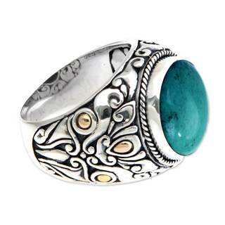 Men's Sterling Silver 'Taru Tree' Turquoise Ring (Indonesia)
