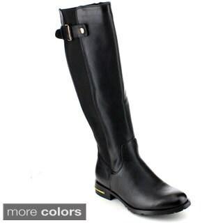 Reneeze Marisa-01 Women's Buckled Strap Knee-High Riding Boots