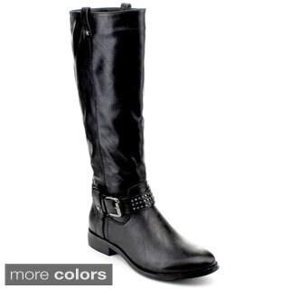 Reneeze Livvy-01 Women's Studded Flat Knee-High Riding Boots