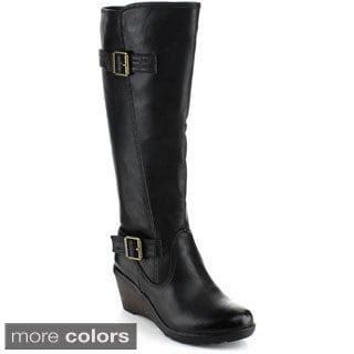 Reneeze Women's Macy-01 Buckled Knee-High Riding Boots