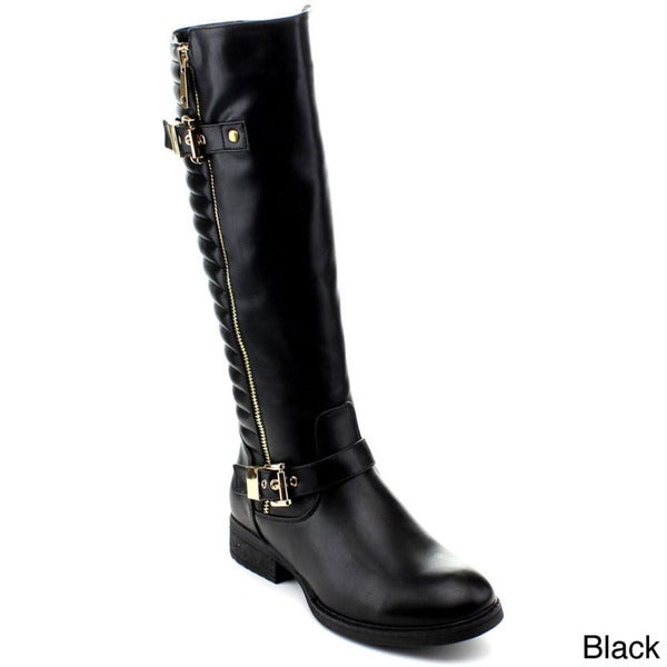 Reneeze Women's Kiki-02 Double Buckled Strap Knee-High Riding Boots