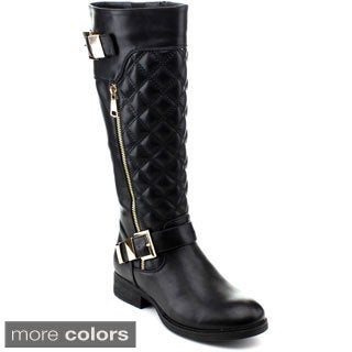 Reneeze Women's Kiki-01 Quilted Knee-high Riding Boots