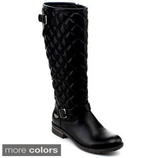 Reneeze Kerry-02 Lady Knee-High Buckle Quilted Riding Boots