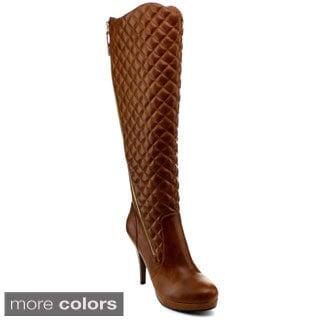 Reneeze Katy-03 Women's Stiletto High-Heel Quilted Knee High Boots