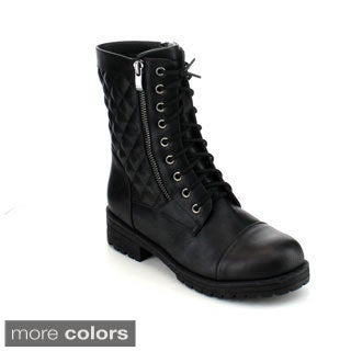 Reneeze Lucky-01 Women's Quilted Mid-Calf Combat Boots