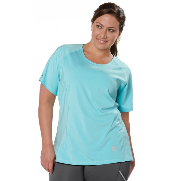 Live Life Large Women's Plus Size Solid Tee with Power Mesh Liner