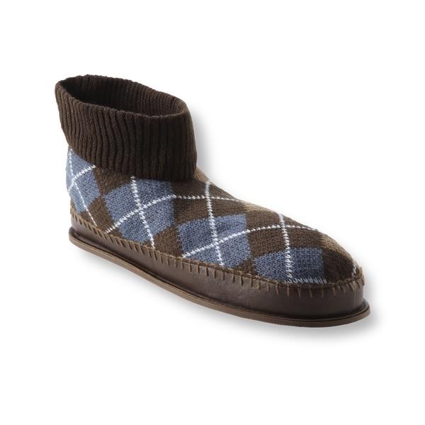 Muk Luks Men's 'Sheldon' Brown Argyle Knit Ankle Slippers-Medium (As Is)