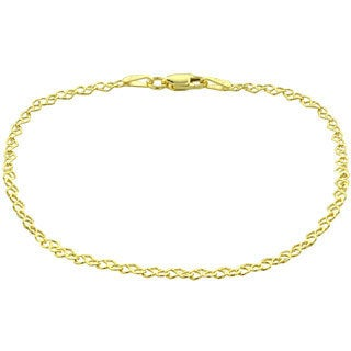Mondevio 14k Yellow Gold 2.55mm Heart Link Chain Bracelet