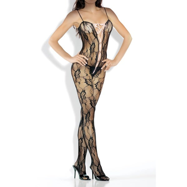 Fantasy Lingerie Women's Black Lace Bodystocking with Lace-up Front Detail