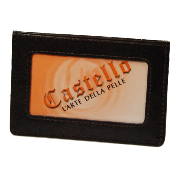 Castello Dark Brown Italian Leather Slim Cardholder with ID