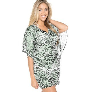 La Leela Green Animal Chiffon Swim Cover-up Mini Tube Kaftan