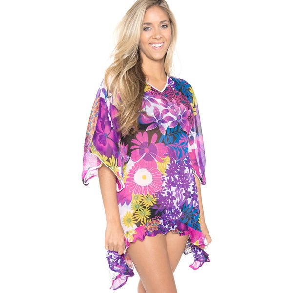 La Leela Purple Floral Asymmetrical Swim Cover-up Chiffon Kaftan