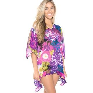 La Leela Purple Floral Asymmetrical Swim Cover-up Chiffon Kaftan