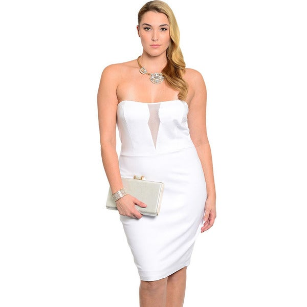 Shop The Trends Women's Plus Size White Strapless Short Dress