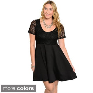 Women's Plus Size Short-sleeve Combination Short Dress
