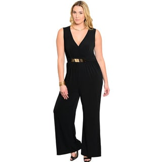 Feellib Women's Black Plus Size Sleeveless Long Romper