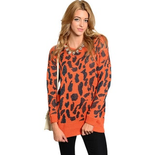 Feellib Women's Long-sleeve Leopard Print Knit Sweater