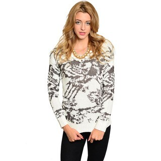Feellib Women's Long-sleeve Abstract Print Knit Sweater
