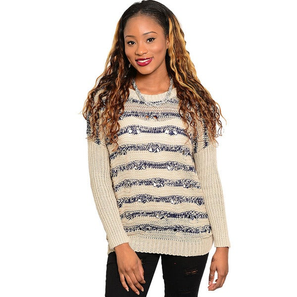 Shop The Trends Women's Long-sleeve Stripe Knit Sweater Top
