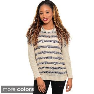 Feellib Women's Long-sleeve Stripe Knit Sweater Top