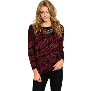 Feellib Women's Long-sleeve Geometric Design Knit Sweater
