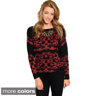 Feellib Women's Long-sleeve Flourish Design Knit Sweater