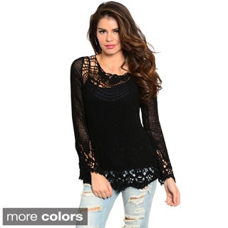 Feellib Women's Long Sleeve Boxy Fit Crochet Lace Top With Round Neckline