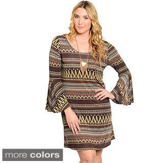Feellib Women's Plus Size Long Sleeve Short Dress With Mix Striped Theme Print And Flared Sleeves