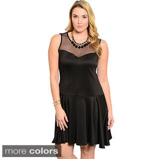 Feellib Women's Plus Size Sleeveless Scuba Knit Fit And Flare Dress With Drop Waist Seam And Sheer Mesh Sweetheart Yoke