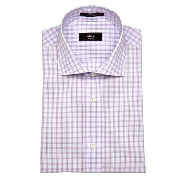 Alara Men's Lavender Grid Slim Fit Dress Shirt