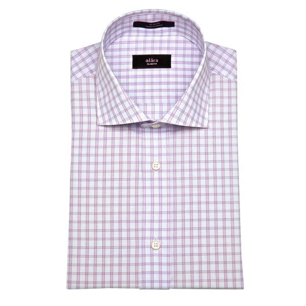 Alara Men's Lavender Grid Slim Fit Dress Shirt
