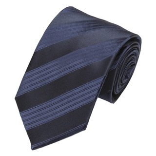 Alara Men's Navy Blue Striped Silk Tie